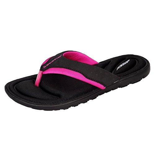Dunlop Damen-Flip-Flops aus Gedächtnisschaum, Badeschuhe für den Strand Black - Fuchsia