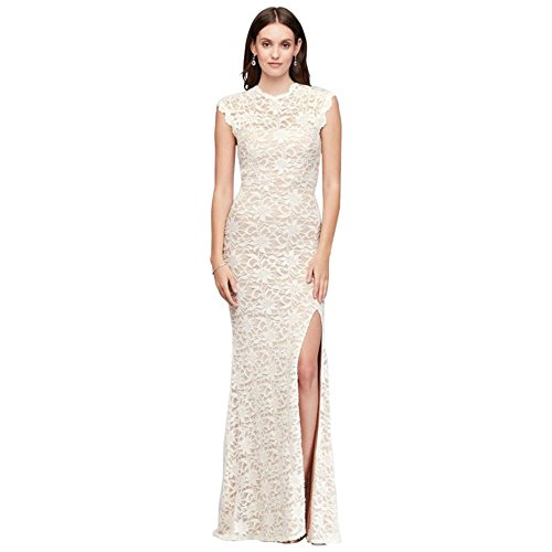 Neck Allover Nude Lace Bridal Ivory Open Gown High Sheath 10586D Back Style David's Fg4nTxF