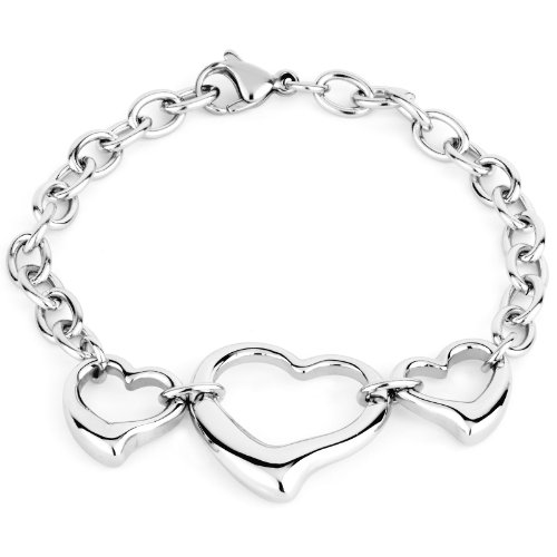 Grams Heart Bracelets - West Coast Jewelry Stainless Steel Polished Triple Open Heart Cable Chain Bracelet - 7 inches