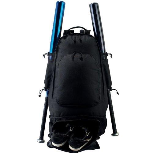 - Baseball/Softball Travel Backpack Gear Bag (Cleat Compartment, 2 Bats, Metal Fence Hook)
