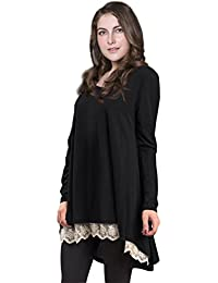 Women Plus Size Casual Long Sleeve Loose Lace Tops Tunic...
