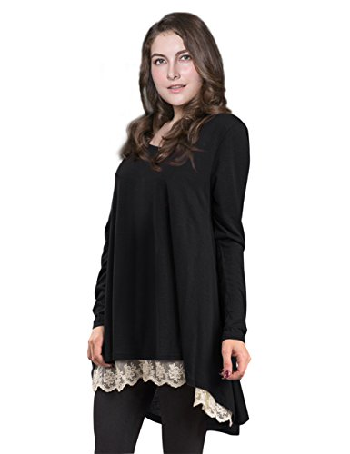 AMZ PLUS Women Plus Size Casual Long Sleeve Loose Lace Tops Tunic Blouses