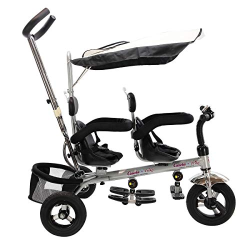 LHONE 4 in 1 Lightweight Twins Tricycle Baby Stroller with Handle & Safety Double Rotatable Seat 3 Rubber Wheels 360°Rotatable Seats, Steer Stroller Detachable Canopy, Foldable Foot Pedals