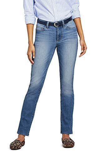 Lands' End Women's Mid Rise Straight Leg Jeans, 8 30, Blue Ash (Lands Jeans End Tall)