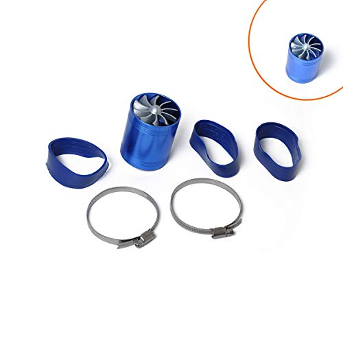 YUXINXIN Modified intake turbine/car turbine double-sided supercharger / F1-Z power double-sided turbine + hose clamp 2 (Color : Blue):