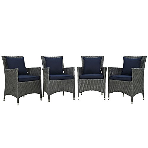 Modway Sojourn 4 Piece Outdoor Patio Rattan Sunbrella Dining Set With Sunbrella Brand Navy Canvas Cushions by Modway
