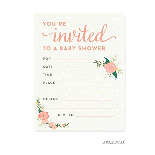 Floral Invitations (Andaz Press Floral Roses Girl Baby Shower Collection, Games, Activities, Decorations, Blank Invitations with Envelopes, 20-pack)