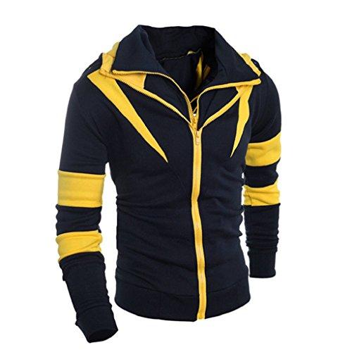 Male Costume National Europe (Hot Sale! Laimeng Men Fashion Retro Long Sleeve Hoodie Hooded Sweatshirt Jacket Coat Outwear (XL,)