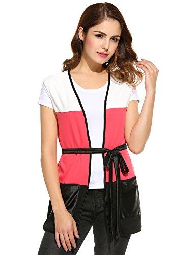 cooshional Femme Sans Manche Gilet Longue Multicolore Blouse Veste D't Et Printemps Rose