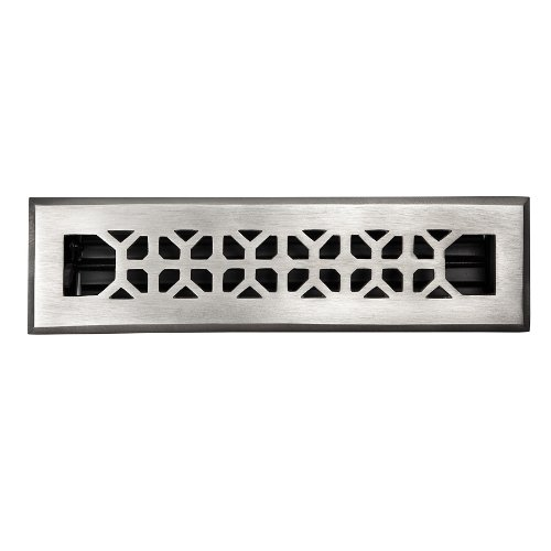 The Copper Factory CF142SN Solid Cast Copper Decorative 2.25-Inch by 12-Inch Floor Register with Damper, Satin Nickel