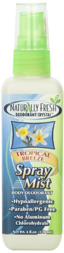 Naturally Fresh Deodorant, Spray Mist, Tropical Breeze, 4-Ounce Bottle (Pack of 6)