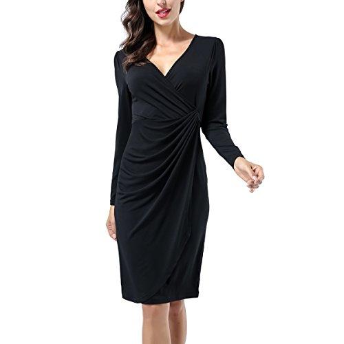 Bodice Dress Crossover (Women's Classic Long Sleeve V Neck Draped Waist Tie Belt Tulip Wrap Dress)