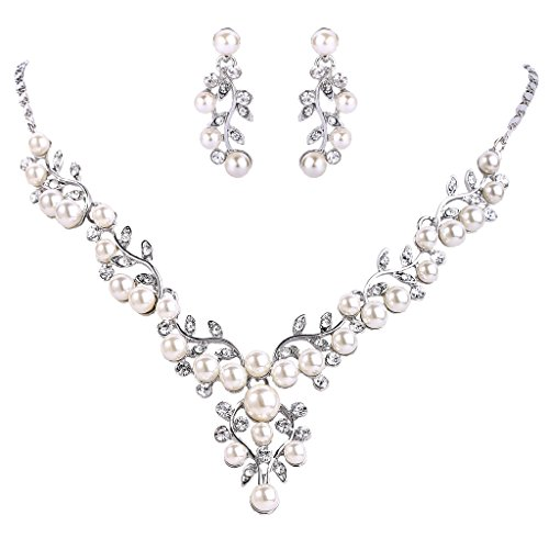 Tone Crystal Necklace (EVER FAITH Women's Crystal Simulated Pearl Leaf Vine Necklace Pierced Earrings Set Clear Silver-Tone)