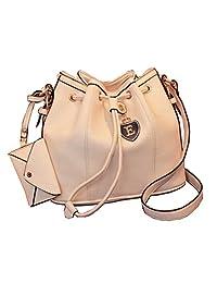 Bramble Women¡¯s PU Buckle Drawstring Pendant Bucket Bag Hobo Bag Cross Body Cream