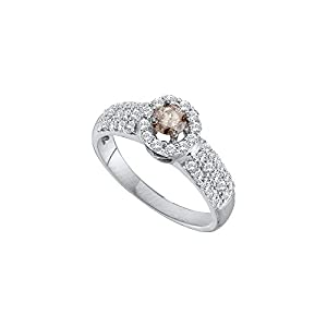 Size 6 - 14k White Gold Round Chocolate Brown Diamond Solitaire Halo Bridal Wedding Band Engagement Ring (3/4 Cttw)