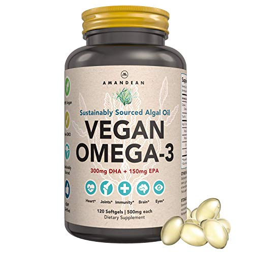 Amandean Vegan Omega-3 Supplement. Marine Algal Oil Rich in EPA + DHA Essential Fatty Acids. Better Than Fish Oil! Supports Healthy Joints, Heart, Skin, Brain, Eyes, Immune System & Prenatal Health.