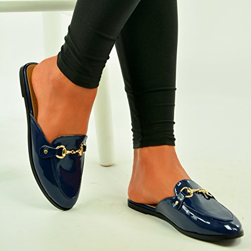 Brand New Womens Brogues Ladies Oxford Loafers Golden Buckle Patent Slip On Sandals Flat Shoes Size UK 3 4 5 6 7 8 Navy Eq4TAVznH