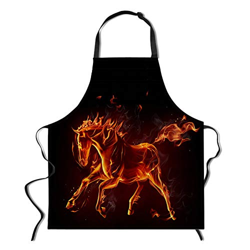 Horse Apron (WHEREISART Novelty Customized Apron, Fire Horse Personalized Flame Apron for Cooking Baking Gardening Adjustable Neck Apron for Men&Women Kitchen Apron Parties)