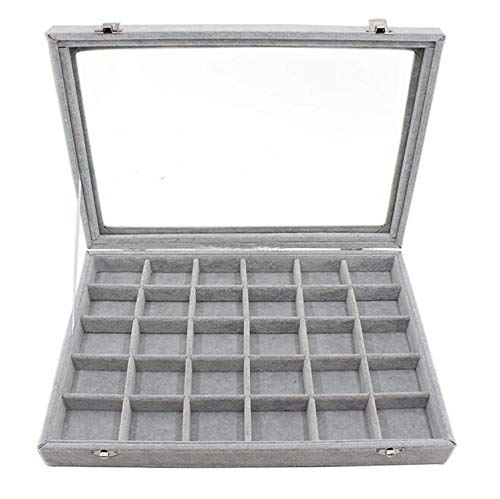 - 35244.5cm Grey Jewelry Display Box Case for Rings Earrings Bracelets Necklaces or Other Ornaments Storage Organizer,30 grids Box