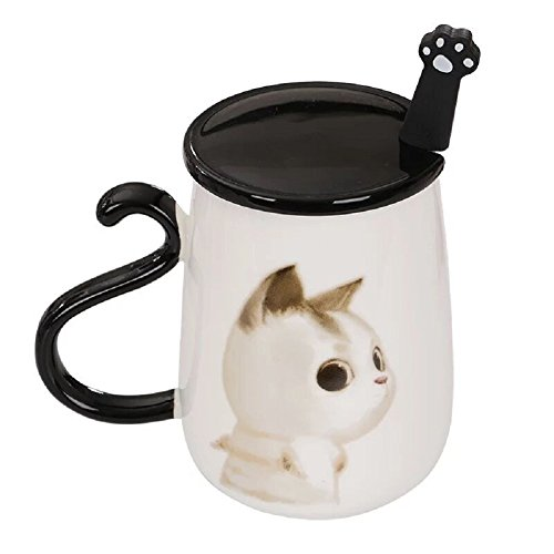 Little-Sweet Cute Cartoon Mug Angel Cat Mug Milk Cups Large Ceramic Coffee Mug with Cute Cat Claw Spoon and Black Lid (White - Angel Mug Large