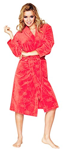 Wanmar para Mujer Velours Bata Lily Rojo Vivo