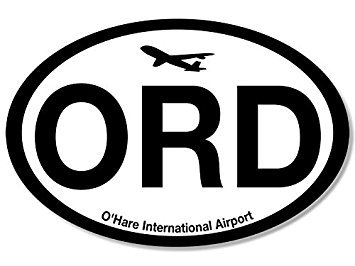 MAGNET Oval ORD O'Hare Airport Code Magnet(jet fly air hub pilot) 3 x 5 inch ()