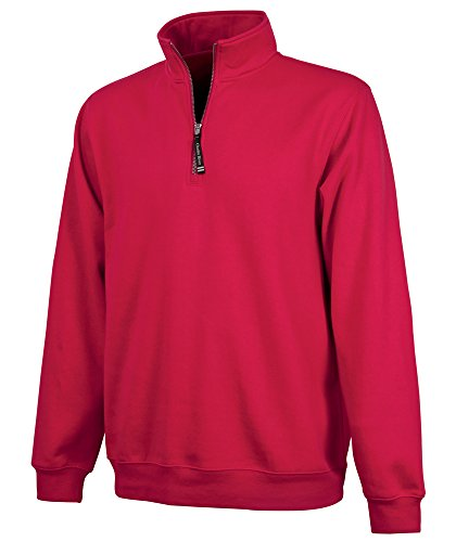 (Charles River Apparel Adult's Crosswind Quarter Zip Sweatshirt (Regular & Big-Tall Sizes), Red XS)