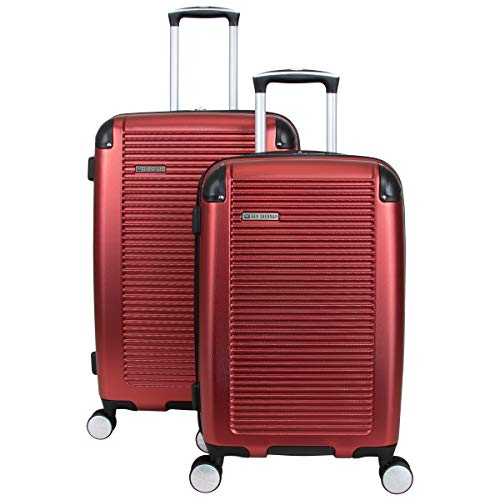 Ben Sherman Norwich Collection Lightweight Hardside PET Expandable 8-Wheel Spinner Luggage, Cherry Red, 2-Piece Set (20…