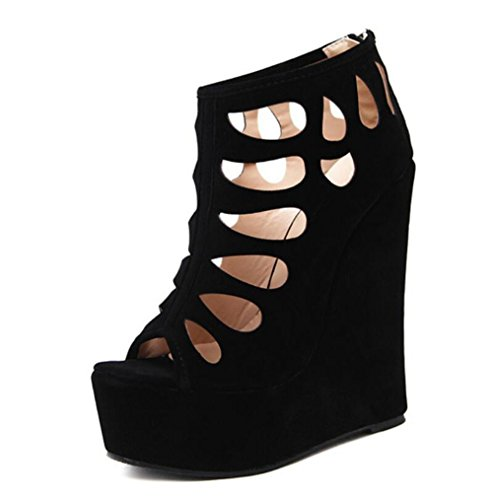 heels Linyi Cuñas Black Sandalias Negro Suede Summer Women Impermeable Open High Plataforma Toe De New gaOrqgw