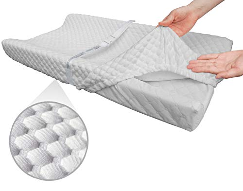 Super Soft and Comfy Bamboo Changing Pad Cover for Baby by BlueSnail (White)