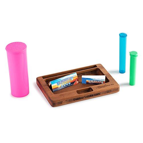 6 Item Bundle - Beamer Juju Bamboo Rolling Tray, 60 DR Pop Top Jar, Large Beamer Squeeze Tube, Small Beamer Squeeze Tube, Elements 1 ¼ Rolling Paper, 1 Elements Tips