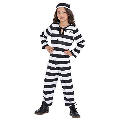 PATYMO - Girl's Cute Prisoner Child Costume, One Size- Halloween -