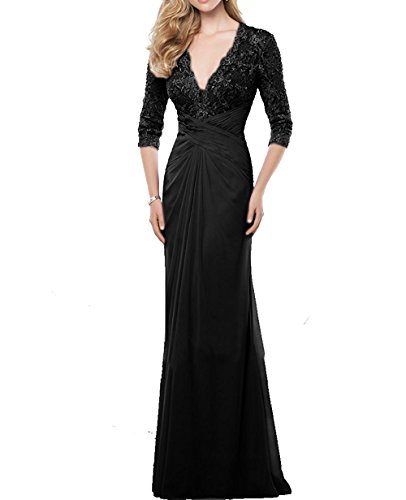 VaniaDress Women V Neck Lace Long Evening Dress Mother Of The Bride Gown V233LF Black US17W from VaniaDress
