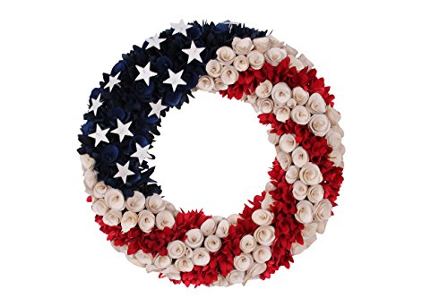 DE 19 Inch Wood Curled Roses Patriotic Wreath in Red, White & Blue - Front Door -