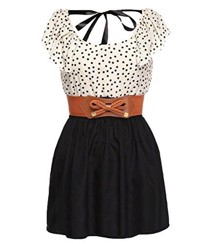 Damen Casual Sommerkleid Punkt Chiffon Shirt Mini Kleid Abendkleid Gürtel  Dress Partykleid Cocktailkleid Minikleid