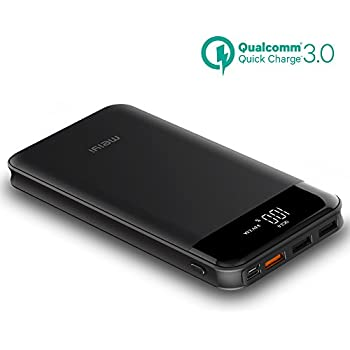 20000mAh Quick Charge Power Bank, meiyi QC 3.0 Portable Battery Charger With 3 USB Output Ports, LED Display QC 2.0 Input External Battery Pack For iPhone iPad Samsung Android phones - Black