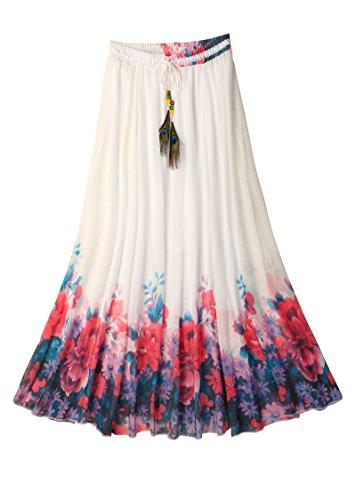 Ashir Aley Beautiful Flowy Summber Chiffon Long Maxi Skirt (M,Navy Blue) ()