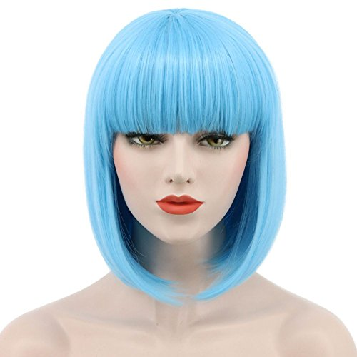 Karlery Women Short Straight Bob Fasion Wig Flat Bangs Cosplay Party Wig Costume Halloween Wig (Blue)