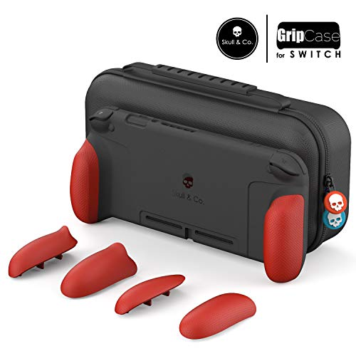 Skull & Co. GripCase Set: A Comfortable Protective Case with Replaceable Grips [to fit All Hands Sizes] for Nintendo Switch - Mario Red