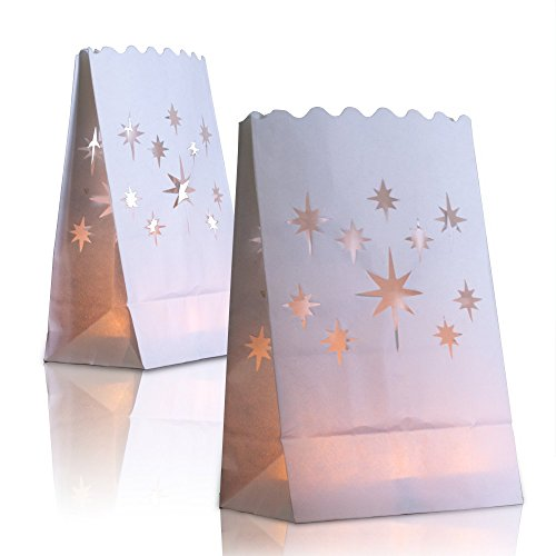 24 White Paper Lantern Luminary Bags - Perfect for Electric LED Tealights, Votives and Candles - Luminaries for Weddings, Party, Halloween, Lighted Pathways, Patio, Garden