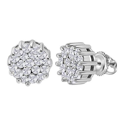 14kt White Gold Womens Round Diamond Flower Cluster Earrings 1.00 Cttw (I1-I2 clarity; H-I color) 14kt Gold Birthstone Cluster Earrings