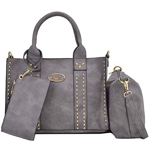 Dasein Designer Tote Purse Satchel Handbag Faux Leather Shoulder Bag Top Handle Bag (0620w 3pcs- Dark Grey) ()