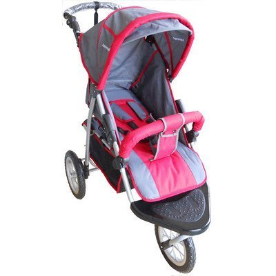 Amoroso Single Jogging Stroller, Black/Red, 12''