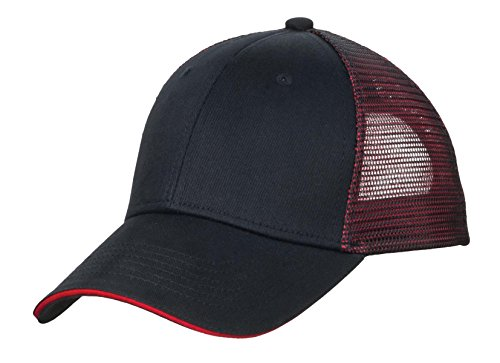 (Port Authority Men's Double Mesh Snapback Sandwich Bill Cap OSFA Black/ Red)