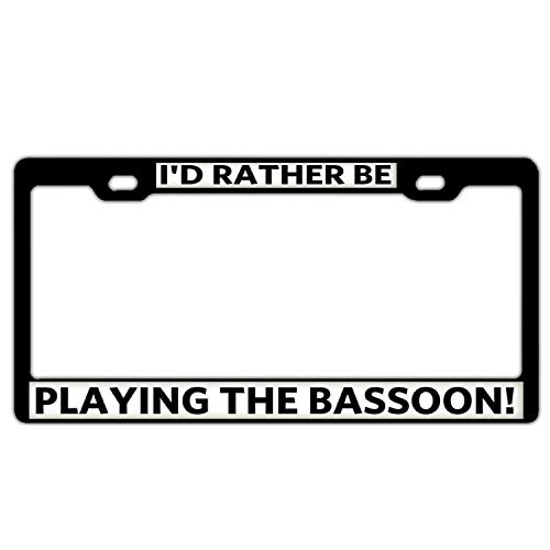 Crysss Cute Black Aluminum Metal License Plate Frame Cover - Humor Funny License Plate Holder 2 Hole Including Screws - Playing The Bassoon