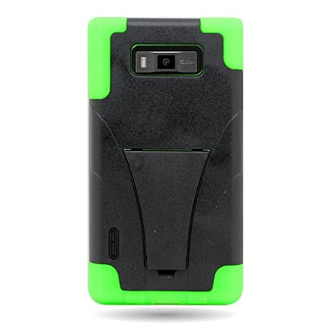 CoverON® HYBRID Heavy Duty Hard BLACK Case and Soft NEON GREEN Silicone Skin Cover with Kickstand for LG US730 SPLENDOR / VENICE / OPTIMUS SHOWTIME L86C (Phone Cases For Lg L86c Optimus)