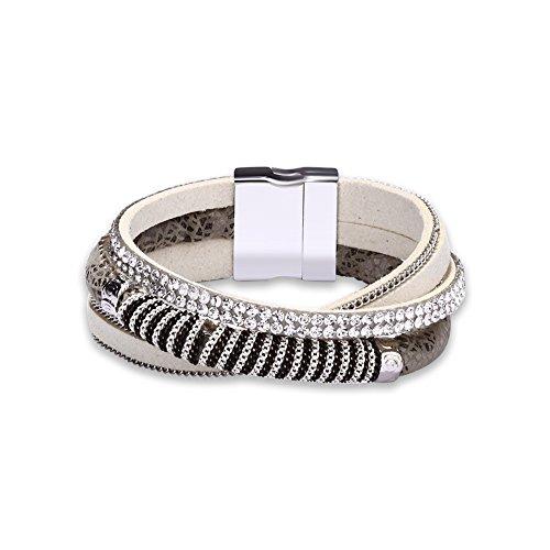 Chunky Bracelet Link (LUREME Women's Velvet Rope Bracelet Setting Bling Bling Crystal and Link Chain-Cream (bl003354-4))