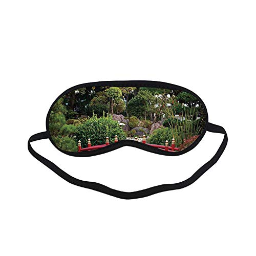 Apartment Decor Fashion Black Printed Sleep Mask,Tiny Bridge Over Pond Japanese Garden Monte Carlo Monaco Along with Trees and Plants Decorative for Bedroom,7.1