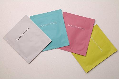 Beauty Pops Facial Sheet Mask Set - Pink (Moisture) White(Brightening) Blue(Soothing) Yellow (Rejuvenating) (4 EA) (Moisture White Tea Mask)