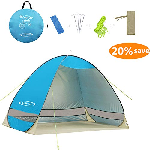Kids Beach Cabana - G4Free Outdoor Automatic Pop up Instant Portable Cabana Beach Tent 2-3 Person Camping Fishing Hiking Picnicing Anti UV Beach Tent Beach Shelter, Sets up in Seconds(Blue)
